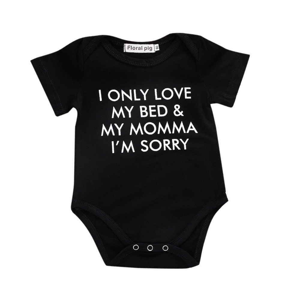 NUWFOR Newborn Toddler Infant Baby Boys Girls Letter Print Romper Jumpsuit Outfits(Black-1,Size:0-6 Months)