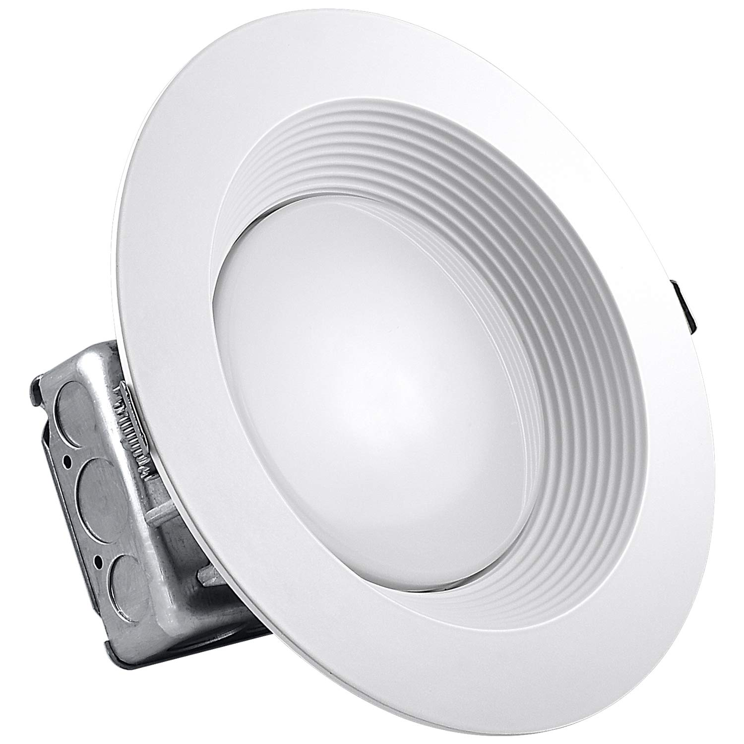 Luxrite 8 Inch Junction Box LED Downlight, 25W (150W Equivalent), 5000K Bright White, Energy Star, 2200 Lumens, Wet Rated, Recessed Ceiling Light, 120-277V, No Can Needed, ETL Listed, 1-Piece