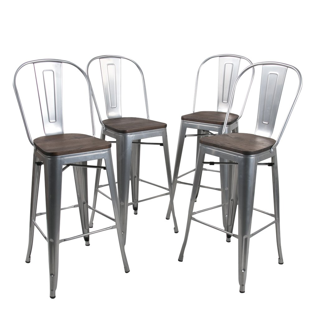 Tongli Metal Barstools Chairs Set Industrial Counter Height Chair (Pack of 4) Patio Dining Chair Silver Wooden Seat 30'' by Tongli
