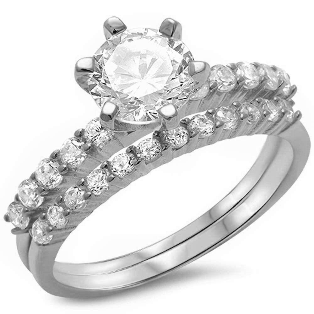 Princess Kylie Round Clear Cubic Zirconia Two Piece Stackable Bridal Ring Sterling Silver