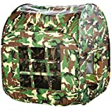 Zewik Large Space Play Tent Children Game Two-Door House Green Camouflage Pretend Army War Soldier Best Gift
