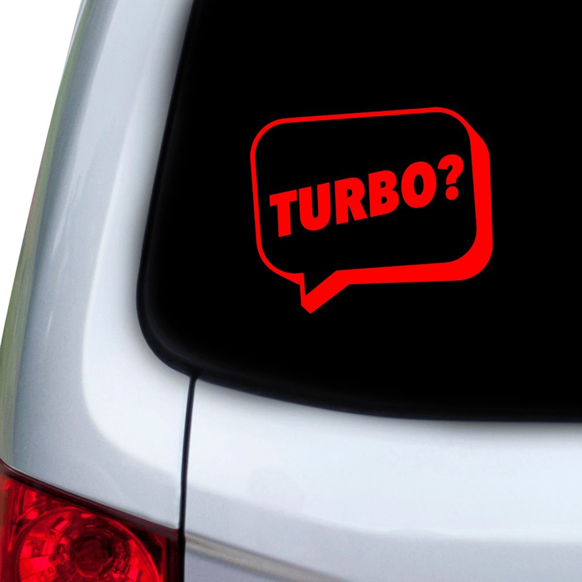 StickAny Car and Auto Decal Series Turbo? Speech Bubble Sticker for Windows Doors Hoods Red