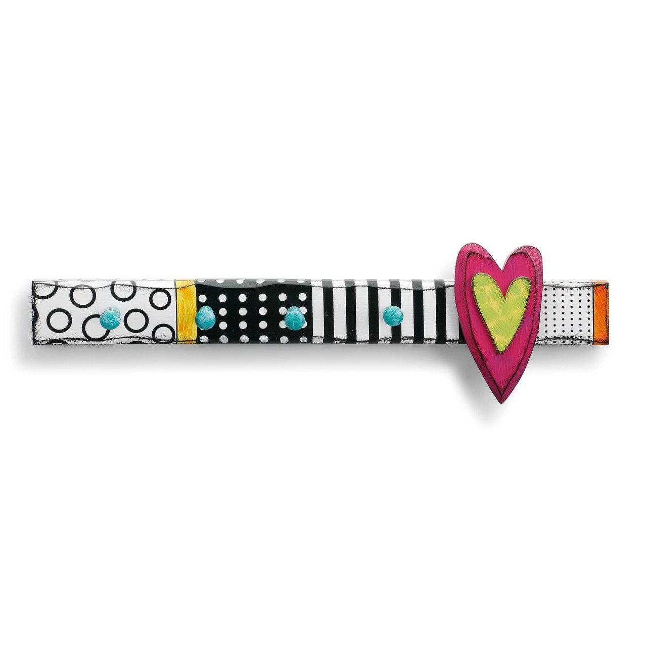 DEMDACO Heart Design Multicolored 22 x 7 Fir Wood and Composite Bath Towel Wall Hooks 1004380021