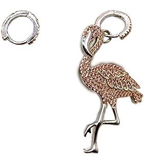 Women's Sterling Silver AAA Cubic Zirconia Hoop Earrings with Asymmetry Flamingos Drop (White/Pink)