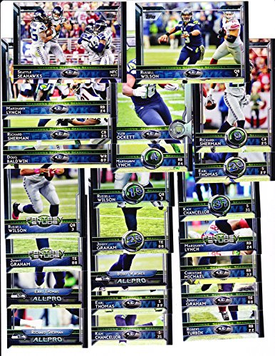 (2015 Topps Football Seattle Seahawks team set - Wilson, Lynch, Graham shipped in an acrylic case with all rookie cards)