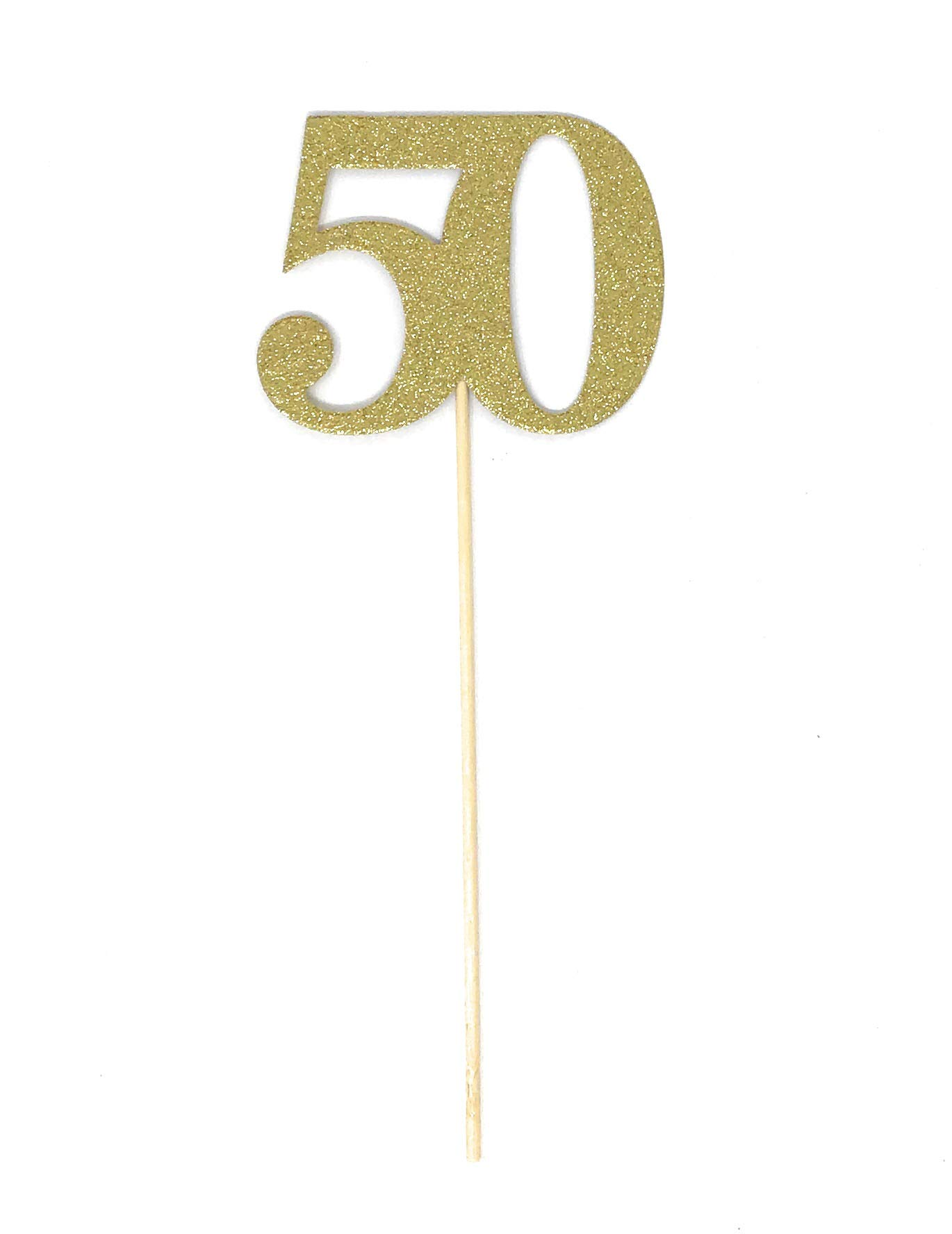 PaperGala 10 Pack Gold Number 50 Double Sided Gold Glitter Centerpiece Sticks DIY Reunions, Anniversaries, and Birthdays (Gold, 10)