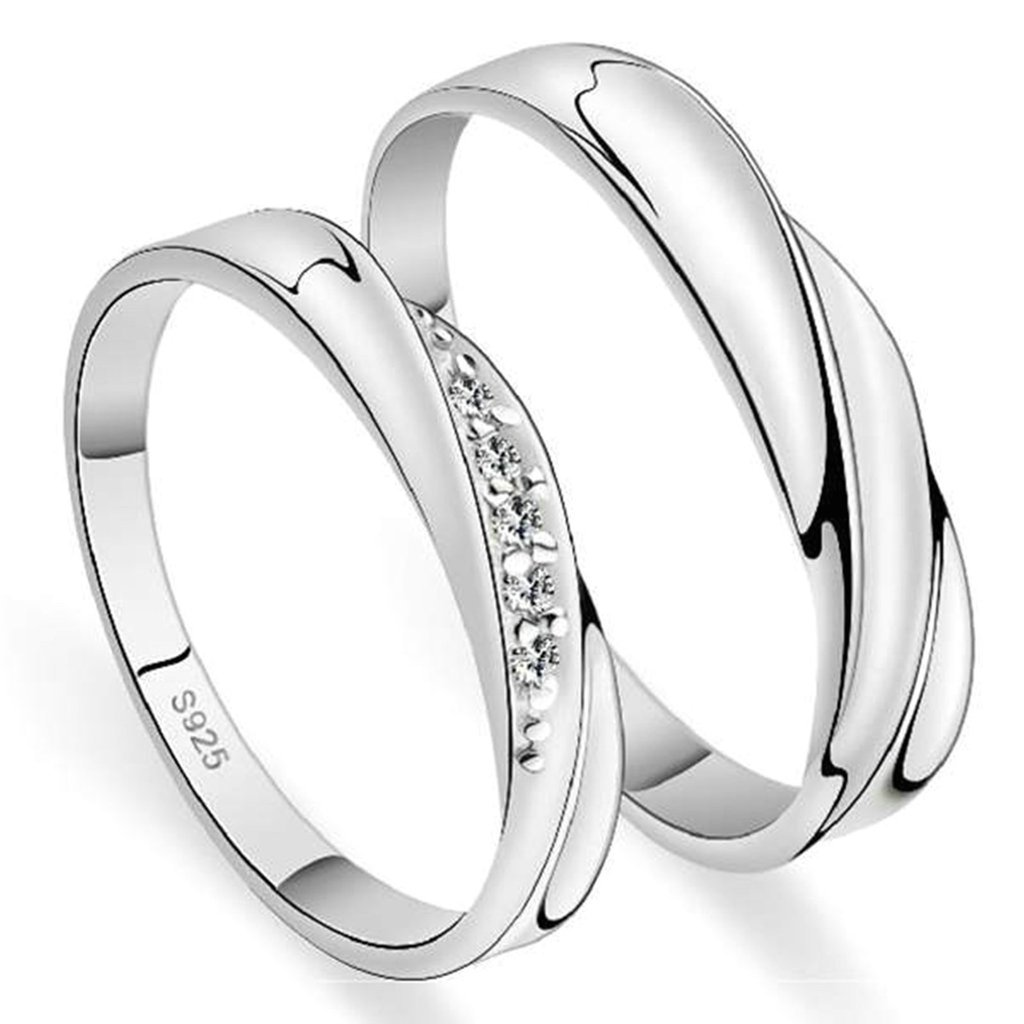 Gnzoe Men Engagement Ring Band For His Her Infinity Rings CZ Eternity Bands 3mm//4mm