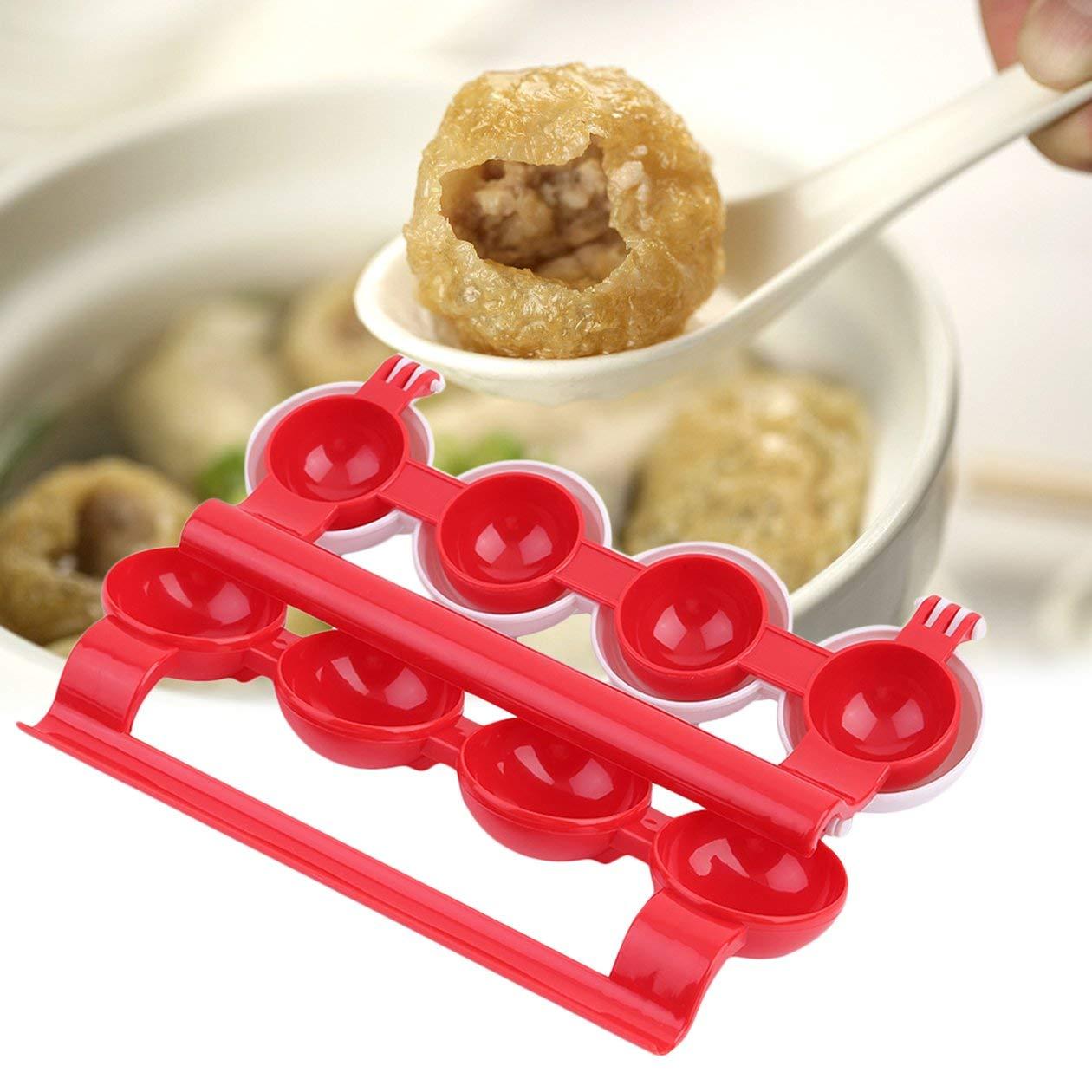 Colore: Rosso e Bianco HONGIRT Accessori Speciali per la Cucina per la casa Polpette in plastica per polpette di Pesce Stampi Polpette di Carne ripiene Fai da Te