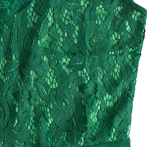 Dress Dress V Dress Green Lingjiu Cocktail Vintage Dark Long Neck Evening Skater Lace Sleeveless Chiffon Dress Dress Sexy Elegant RqwBqOx8a