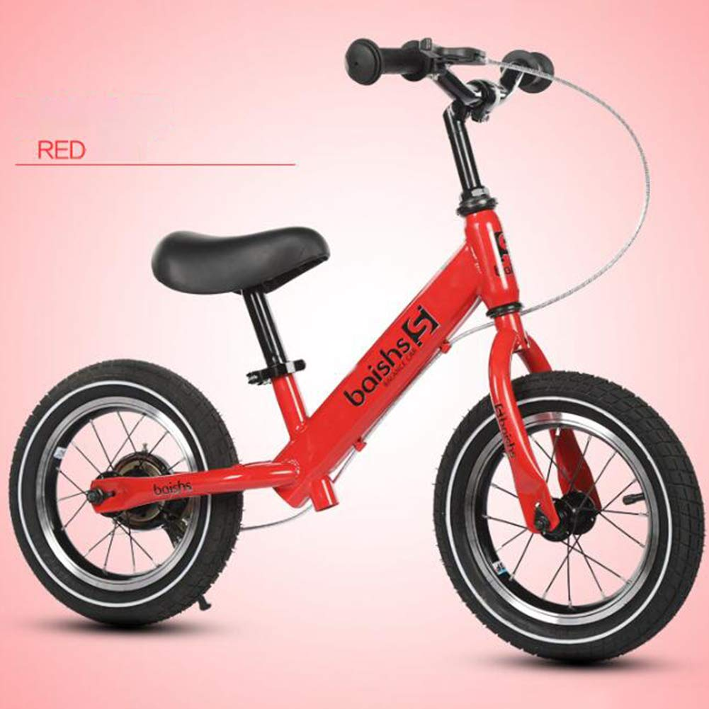 rouge  FJ-MC 12  Vélo d'équilibre, Pas de pédale, avec Frein à Main et pneus gonflables, Unisexe Vélo d'entraîneHommest à Pied, Capacité de 30kg, pour Les Enfants de 2 à 5 Ans,blanc