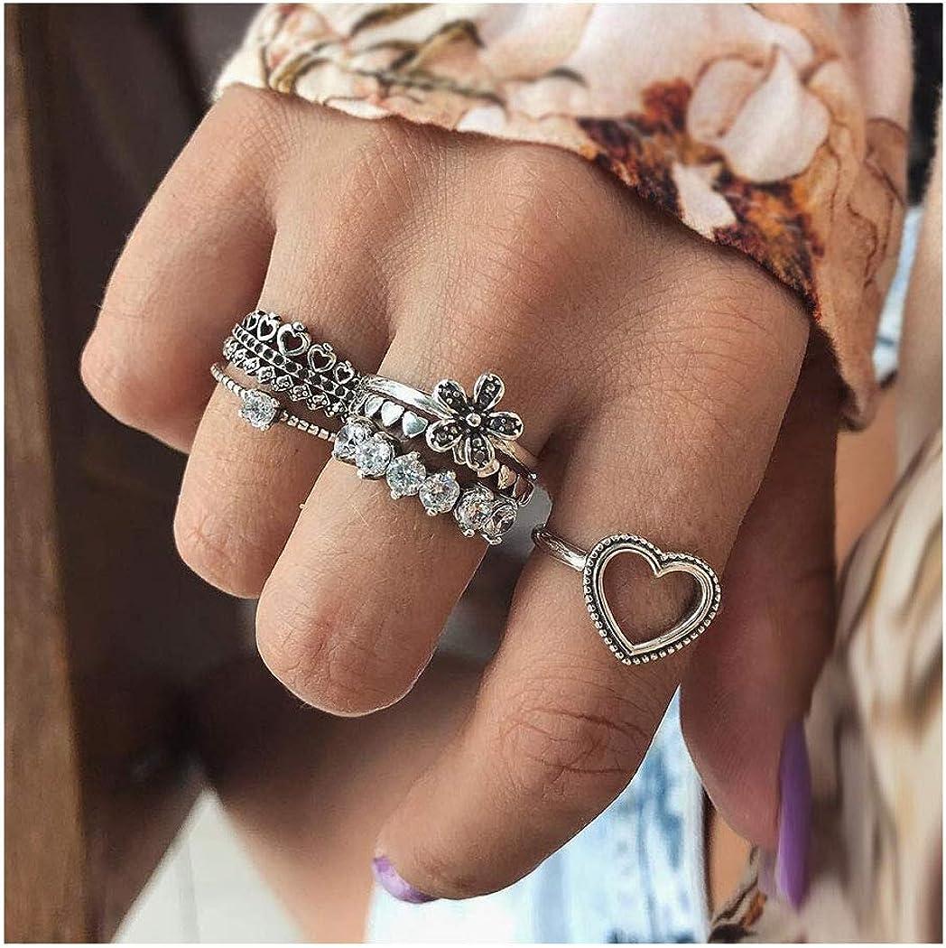 IYOU - Juego de anillos de plata con piedras preciosas para nudillos y nudillos, diseño de hojas y corazones, joyería para mujeres y niñas (5 unidades)