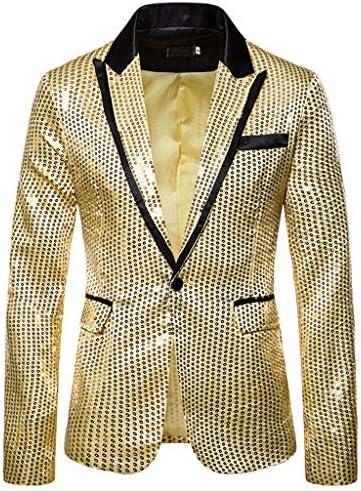 [해외]Men`s Shiny Sequins Suit Jacket Blazer One Button Tuxedo for Party Wedding Banquet Prom / Men`s Shiny Sequins Suit Jacket Blazer One Button Tuxedo for Party Wedding Banquet Prom (M, Gold)