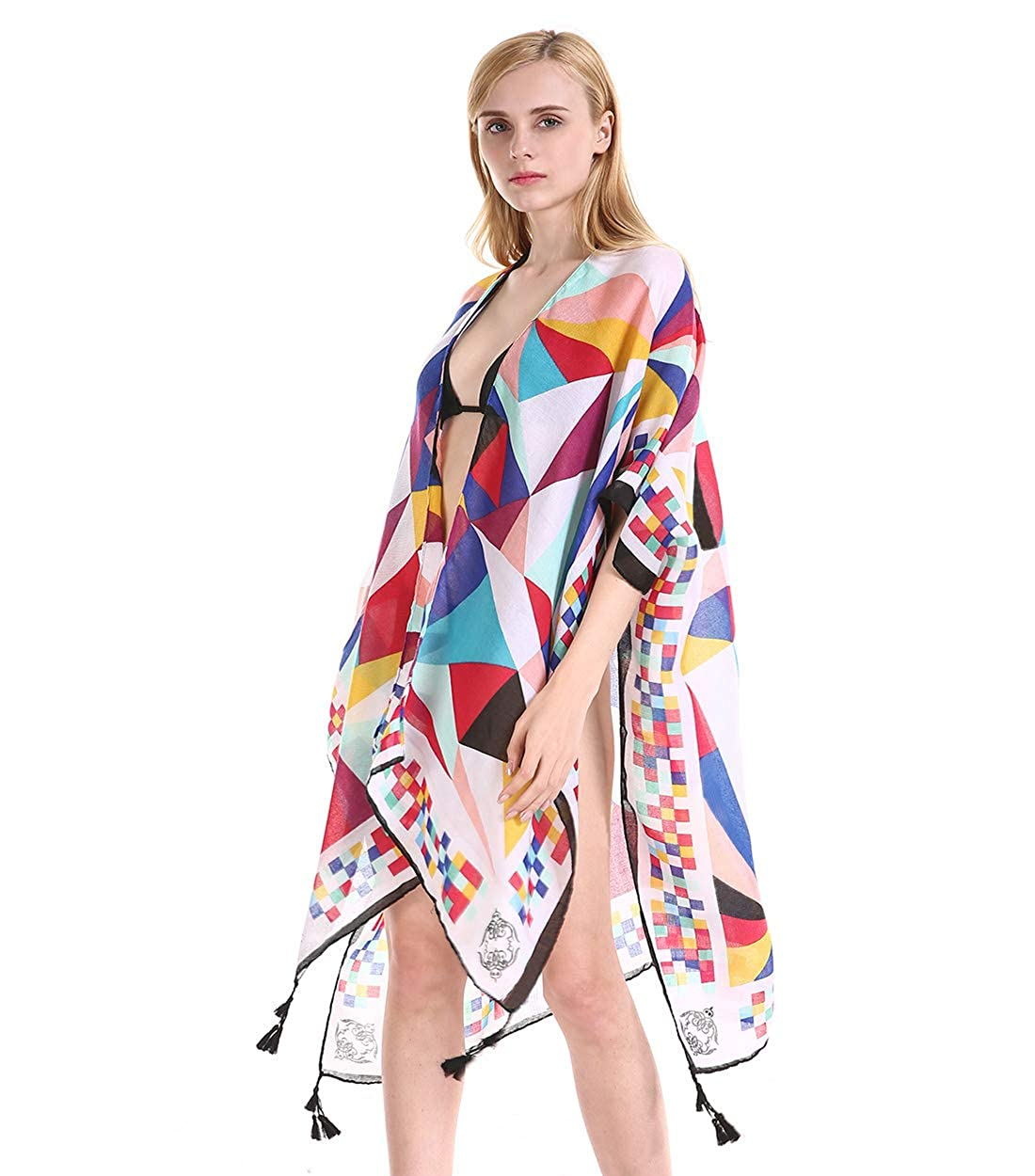630d4d92ef6ce Women Floral Kimono Swimsuit Cover Up Cardigan - Long Chiffon Print  Swimwear Beach Bathing Bikini Coverup Boho Batwing Loose Tops Outwear Kimono  Dress Plus ...