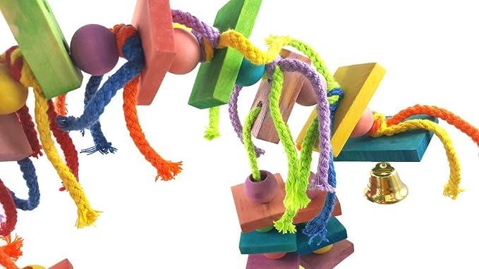 Uccello giocattolo da masticare Forniture per l'istruzione colorato in legno durevole corda di cotone appeso blocchi string morso grande medio e piccolo animale domestico stand cremagliera gioca giocattolo pappagallo forniture Giochi d'imitazione