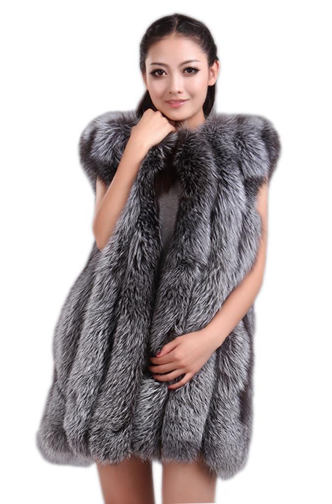 MEEFUR Winter Whole Skin Silver Fox Fur Vest Gilet Waistcoat US 16