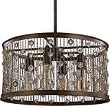 Feiss F3045/4CSTB Colorado Springs Crystal Drum Pendant Lighting, Bronze, 4-Light (19″Dia x 10″H) 400watts