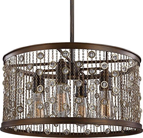 Feiss F3045/4CSTB Colorado Springs Crystal Drum Pendant Lighting, Bronze, 4-Light (19″Dia x 10″H) 400watts