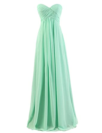 Dresstells Sweetheart Bridesmaid Chiffon Prom Dresses Long Evening Gowns - Green -