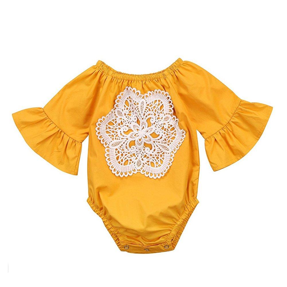 6ea92f6dda32 Amazon.com  CAIBIET Newborn Baby Girls Romper Ruffle Sleeve Floral Applique Jumpsuit  Romper Jumpsuit  Clothing