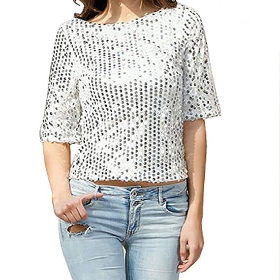 Camisetas Manga 3 4 Mujer Blusa de Verano Fiesta Top de Lentejuelas Brillantes T shirt Túnica Blusas Camisas Tops Clubwear - Landove: Amazon.es: Ropa y ...