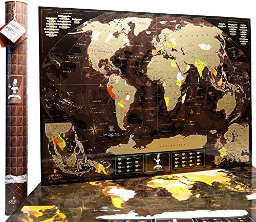 - World Scratch Off Map Wall Poster with US States Coffee Gold enLarge Europe and Asia Map 35x 25 Push Pin Travel Map to Mark your Trips and Adventures by MyMap
