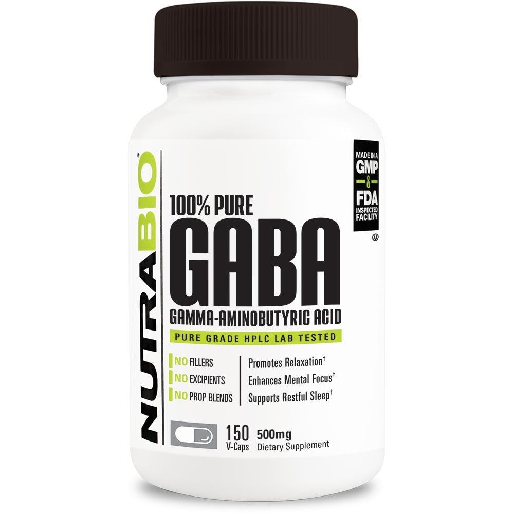 NutraBio 100% Pure GABA (Gamma-Aminobutyric Acid), Healthy Sleep and Mental Relaxation, 500mg - 150 Vegetable Capsules