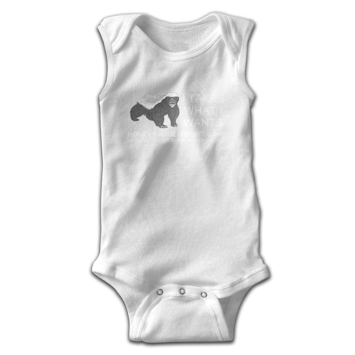Honey Badger Newborn Crawling Suit Sleeveless Romper Bodysuit Onesies Jumpsuit Black