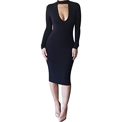 0998d010fae9a ALAIX Women s Sassy Keyhole Low-Cut Bodycon Long Sleeve Winter Pencil Party Evening  Dress Black
