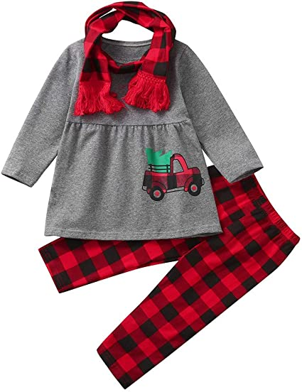 Shan-S Toddler Kids Christmas Blouse Baby Girls Childrens Cartoon Car Printed Tops Dress+Plaid Pants+Scarves Outfits Set Clothes