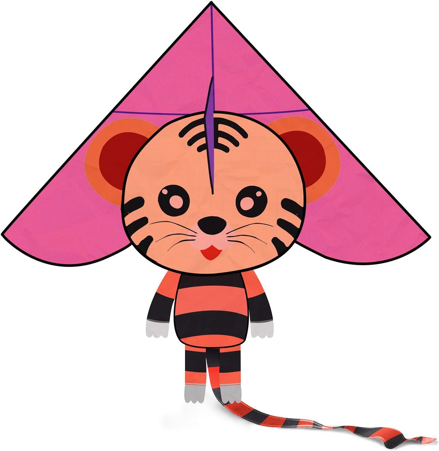CALESON Enorme Cometa Tigre con Cuerda - Cometa fácil de Volar con Parque de la Playa - Actividades de Juegos al Aire Libre para niños y Adultos(Rosado)
