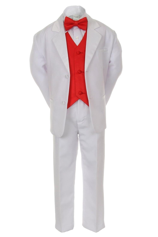 Amazon.com: 7pcs Boys Baby Kid White Suits Tuxedo Satin Red ...