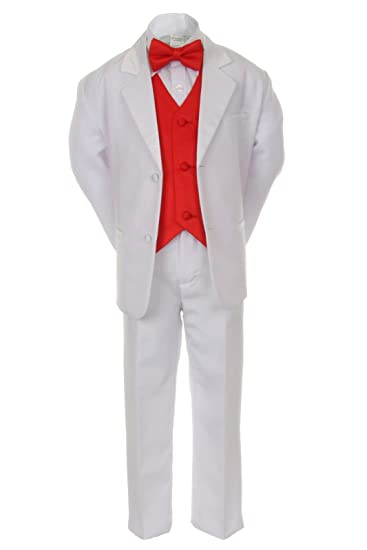 7pcs Boys Baby Kid White Suits Tuxedo Satin Red Bow Tie Vest Set all Size  (10)
