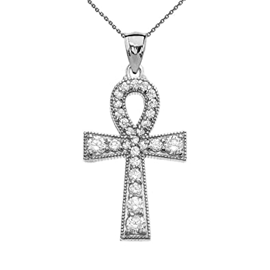 Amazon cubic zirconia sterling silver ankh cross pendant cubic zirconia sterling silver ankh cross pendant necklace 16quot aloadofball Choice Image