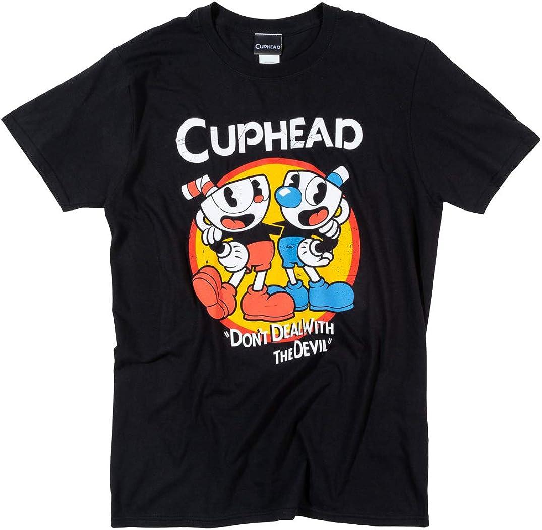 Trademark Mens Black Cuphead T Shirt: Amazon.es: Ropa y accesorios