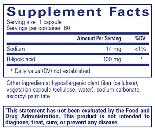 Pure Encapsulations - R-Lipoic Acid (Stabilized) - Hypoallergenic Supplement with Enhanced Antioxidant Protection and Metabolic Support* - 60 Capsules by Pure Encapsulations (Image #1)