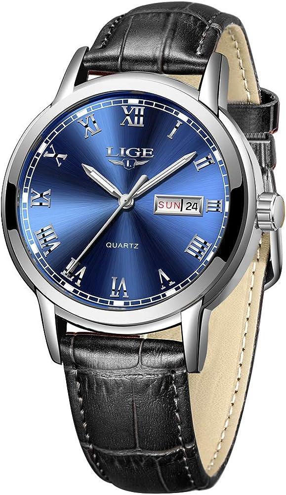 LIGE Reloj para Hombre Reloj de Acero Inoxidable Resistente al Agua Reloj Deportivo para Hombre Reloj de Pulsera de Calendario de Cuarzo analógico Casual con Correa de Cuero