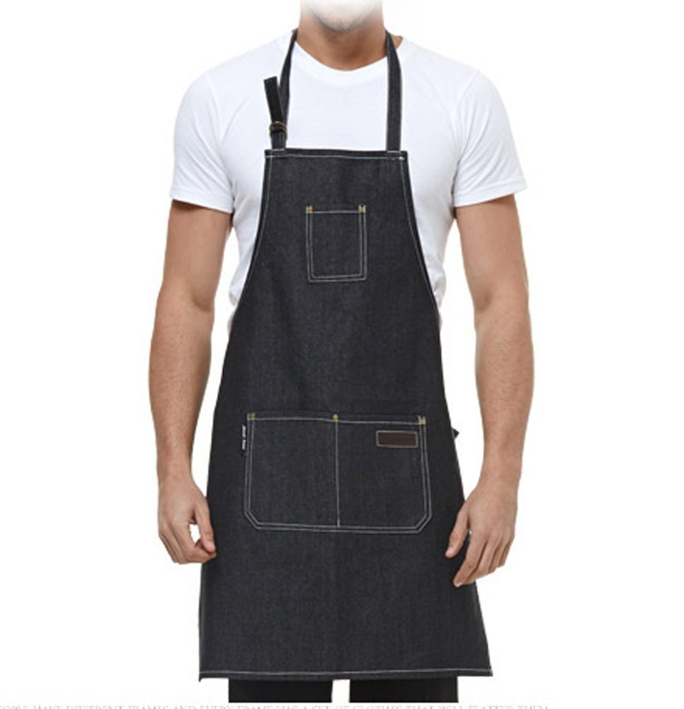 EQ Apron Waterdrop Resistant with 3 Pockets Cooking Kitchen Aprons for Women Men Chef,Black