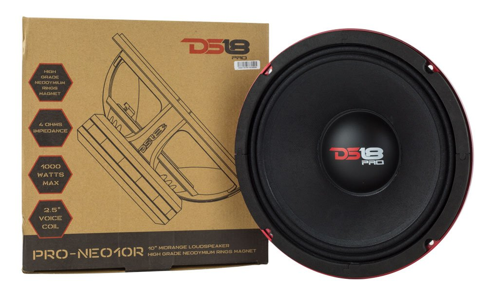 DS18 PRO-NEO10R 500W RMS 1000W Max Mid-High Neodymium Magnet Midrange 4 Ω Speaker, 10''
