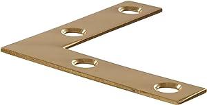 """Hillman Hardware Essentials 851101 Flat Corner Brace Iron Bright Brass 2"""" - 4 Pack"""