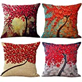 "Pillow Case Decorative Oil Colorful Painting Cotton Linen Cushion Cover for Bed Chair Sofa Couch Car - 4 Pack 18 ""X18 "" by DUO-V Home"