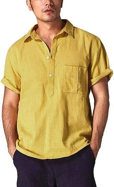Camisa Lino Hombre Casual SHOBDW 2019 Cuello Mao Botón Bolsillo Suelto Tallas Grandes Blusa Tops Color Sólido Verano Camisetas Hombre Manga Corta M-3XL: Amazon.es: Ropa y accesorios