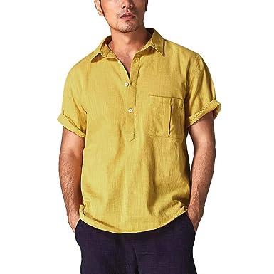Camisa Lino Hombre Casual SHOBDW 2019 Cuello Mao Botón Bolsillo ...