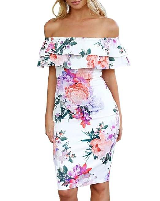 b02cb0191672 Damen Sommerkleider Schulterfrei Ruffle Party Blumen Kleider Abendkleid  Strandkleid  Amazon.de  Bekleidung
