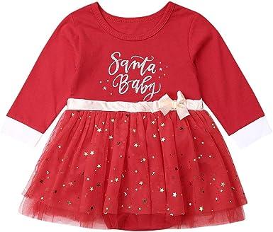 WANGSGOGO Vestido de Navidad Rojo para bebé niña bebé niña Santa ...
