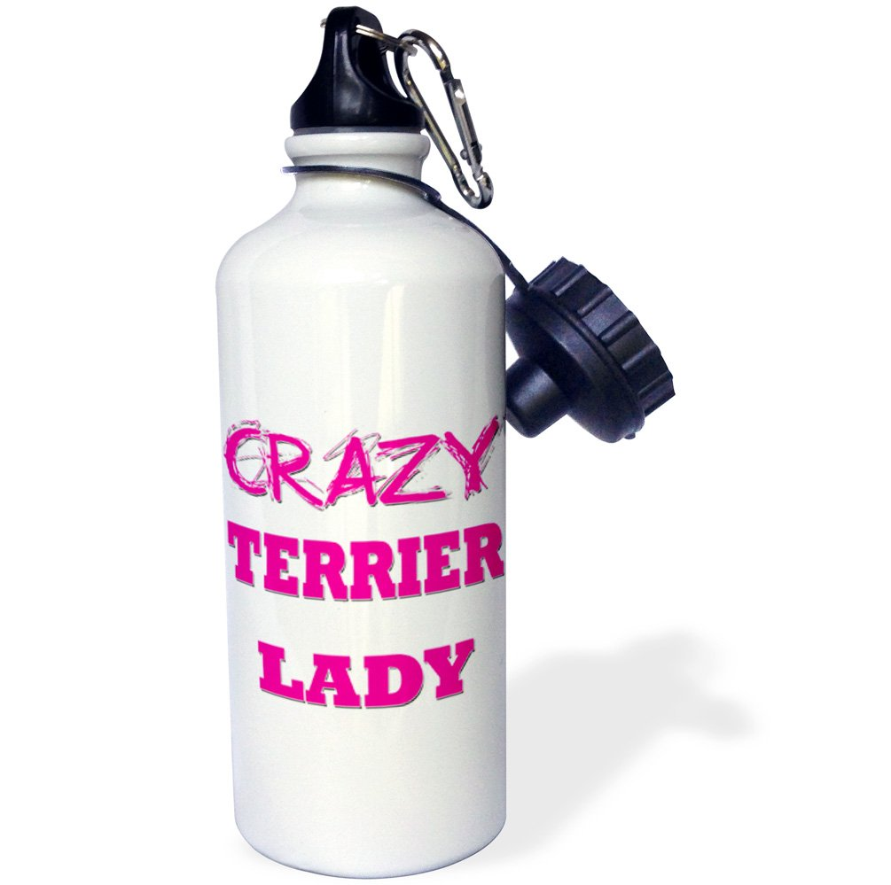 Multicolor 21 oz 3dRose wb/_175310/_1 Crazy Terrier Lady Sports Water Bottle