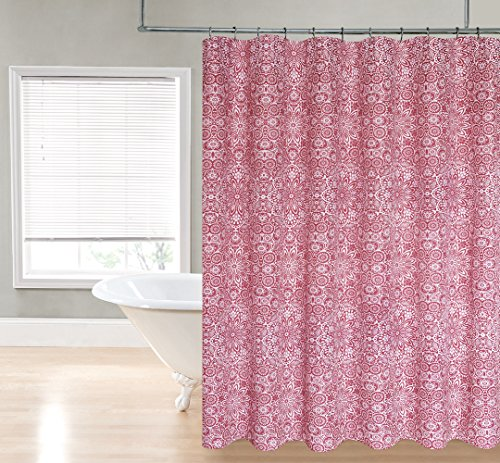 Regal Home Collections Harper Printed 70-Inch Wide X72-Inch Long Fabric Shower Curtain_Brick Red - Harper Shower Curtain