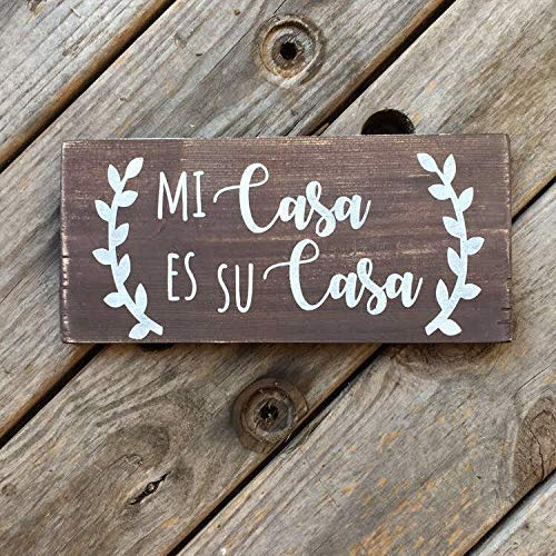 Iliogine Wooden Plaque Sign Spanish Mi Casa ES Su Casa Hispanic Art Latino House Decoration Spanish Saying for Ating Latino Wedding Decoration Cabin Housewarming Gift (Casa Es Su Casa Mi Wall Art)