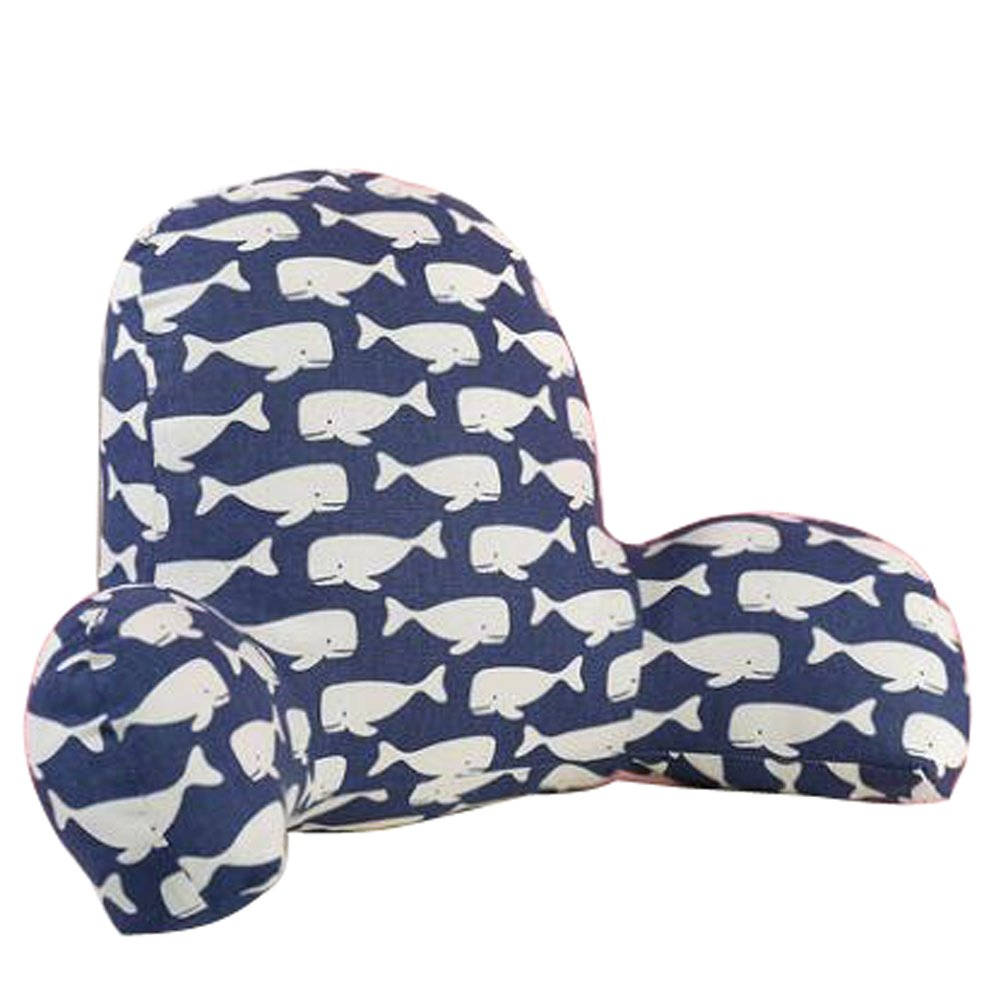 Large Cotton Bed Reading Rest Watching TV Waist Pillow Back Cushion with Arm Support Chair Car Seat Sofa Rest Lumbar Cushion (Large, Whale pattern)