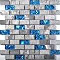 Ocean Blue Glass Nature Stone Tile Kitchen Backsplash 3D Bath Shower Accent Wall Decor Gray Wave Marble 1 x 2 Subway Art Mosaics TSTNB03 by TST MOSAIC TILES
