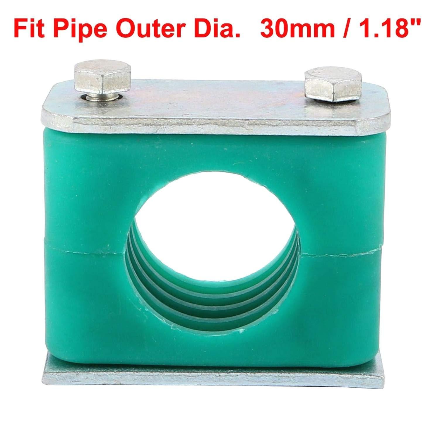 SALAKA Abrazadera de Tubo de Polipropileno de 30 mm de di/ámetro de 2 Piezas Abrazadera de Tubo de Manguera de tuber/ía de Serie Pesada con coj/ín de Aluminio